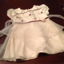 Pretty Cream Textured Lace Style Baby Dress Size 0-3 Months George Worn Once!!