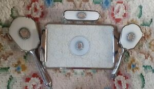 Vintage Dressing Table Brush Mirror & Tray Vanity Set - Petit Point & Marcasite