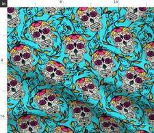 Blue Green Skull Calaveras Sugar Autumn Leaves Fabric Printed by Spoonflower BTY