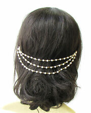 Gold Ivory White Pearl Chain Bridal Headpiece Headband Hair Vine Clip Vtg 1998