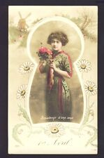 """Carte Postale Ancienne 1er AVRIL """"Souvenir d'une Amie"""" Poisson Marguerites Daisy"""