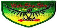 WAH-SHA-SHE OA LODGE 42 OZARK TRAILS COUNCIL MO PATCH GREEN BORDER SERVICE FLAP