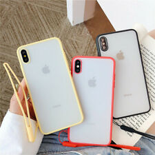 Matte Bumper Hard Strap Phone Acrylic Case Cover For iPhone Xs Max XR 7 8 Plus 6