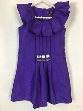 Nicole Miller Dress Size 7 Purple Ruffle Knee Length Pleated Sleeveless Party