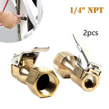 Pair Heavy Duty Brass Clip-on Female 1/4'' NPT Tyre Inflater Air Chuck Universal