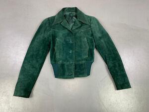 Vintage Emerald Green Suede Jacket Size XS /S Streetwear Festival