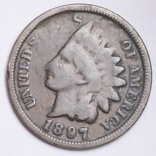 1897 MISSING WORDS ERROR Indian Head Small Cent CHOICE FREE SHIPPING E145 KC