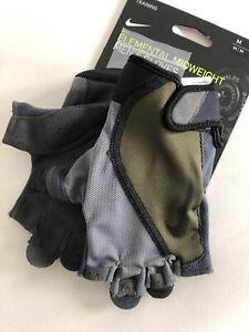 New Nike Men's Fundamental Training Gloves Medium Black Padded Microfiber