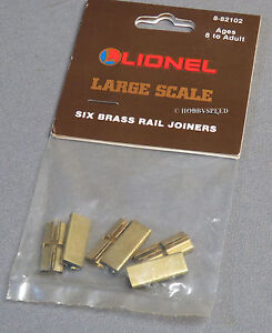 LIONEL LARGE SCALE 6 BRASS TRACK RAIL JOINERS G connectors jointers 8-82102 NEW