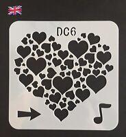 Valentines Heart Shapes Design Small Thin Plastic Reusable Art Craft Stencil