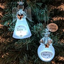 Personalised Christmas Tree Decorations Xmas Light up Angel Snowman Baubles Gift