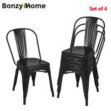 New Listing4 Pieces Metal Dining Side Chairs Glossy Stackable Modern Dining Room Set Stools