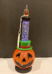 HALLOWEEN WATER SNOW GLOBE SWIRLING LIGHTED LED PUMPKIN CANDLE
