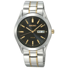 Seiko Solar SNE047 Mens Two Tone Stainless Steel Black Dial Day/Date 38mm Watch