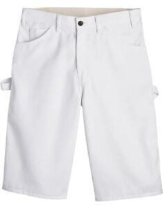 """DICKIES 11"""" FLEX Relaxed Fit Utility Painter's Shorts White"""
