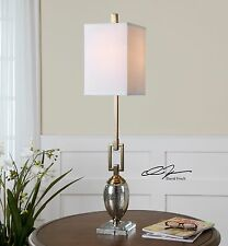 "NEW MODERN 37"" COFFEE BRONZE METAL & MERCURY GLASS TABLE LAMP LINEN SHADE LIGHT"