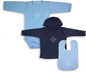 Diamond 9 Babywear Bundle - Blue Full Sleeve Bodysuit, Navy Hoodie & Blue Bib