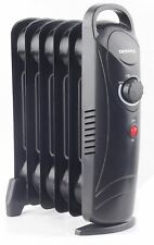 Daewoo Mini Portable Oil Filled Radiator Heater with Thermostat - 800W Black