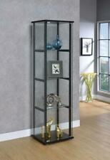 Glass Cabinet Tempered 4-Shelf Storage Modern Home Room Hallway Decor Organizer