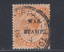 "Jamaica Sc MR8 used. 1917 1½p orange KGV, ""S & T joined"" in STAMP ovpt variety"