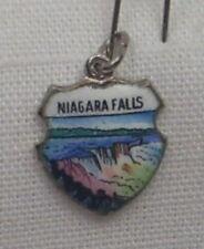 Vintage REU Sterling/Enamel Niagara Falls, New York Bracelet/Travel Charm - NOS