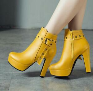Womens High Block Heels Platform Round Toe Ankle Riding Boots Buckle Strap D12