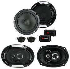 "Renegade RX6.2C 6.5"" 200W 2 Way Car Components + 2) 6x9"" 300W 3-Way Car Speakers"