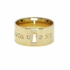 Tiffany & Co. Diamond Wide Band Keyhole Ring in 18k Yellow Gold