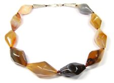 Gorgeous Necklace from Botswana Agate in the Shape from the rhombischen Pyramid