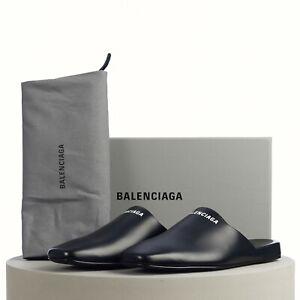 BALENCIAGA 595$ Cosy Mule Sandals In Smooth Black Calfskin with Logo Print