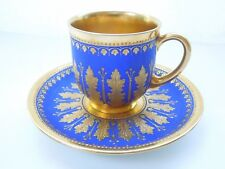 Rare Dresden Demitasse Cup Saucer Royal Blue Raised Acanthus Gilding Perls Jewel