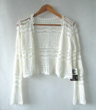 Crochet Shrug sz S 8 Cream Lace Top