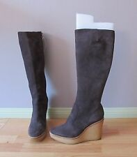 YVES SAINT LAURENT Designer Boots 'Eggplant' Suede Size 40 Italy Free Ship $145