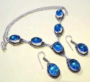 """Blue Topaz 925 Sterling Silver Plated Necklace Earrings Set Jewelry 20 """" Inch"""