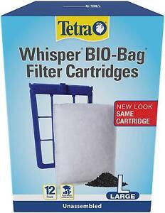 Aquarium Fish Tank Filter Cartridges Tetra Whisper Bio Bag Large 12 Pack 26164 L