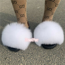 White-Max Large XXL Real Fox Fur Slides Women's Sliders Slippers Sandals Shoes