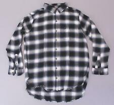 Abercrombie and Fitch Women's Slim Boyfriend Flannel Shirt KB6 Blue Large NWT