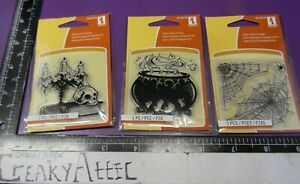 WITCHES KETTLE SPIDERS WEB CANDLE 3 CLING ACRYLIC CLEAR STAMPS INKADINKADO CREAK