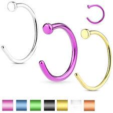 Cartilage Tragus Septum Nose Hoop Ring Nail Head Titanium Anodized Titanium