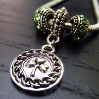 Lucky Clover European Pendant And Birthstone Beads For Charm Bracelets