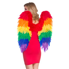 Large Pride Rainbow Multi Colour Feather Angel Wings Parrot Fancy Dres Accessory