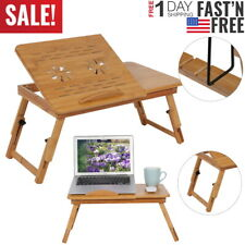 Portable Folding Lap Desk Bamboo Laptop Notebook Sofa Bed Table Stand Tray Home