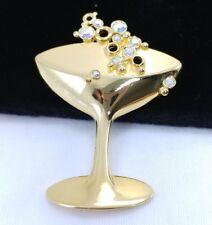 (W) JJ Signed Jonette Bubbly Drink Cocktail Martini Bar Gold Crystal Brooch Pin