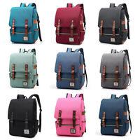 "Men Women 16"" Laptop Canvas Leather Backpack Travel Rucksack Satchel School Bag"