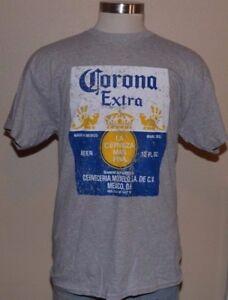 Corona Extra Beer Short Sleeve Gray Blue Cotton Blend T-Shirt Men's Large NWOT