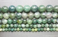 Natural Green Moss Agate Gemstone Round Beads 4mm 6mm 8mm 10mm 12mm 15'' Strand