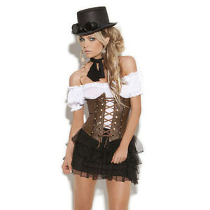 Underbust Corset Lace up Front, Boning.. Adult Woman Steampunk Costume