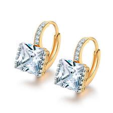 10mm Square Diamond 18K Silver & Gold Filled Women Lady Wedding Hoop Earrings