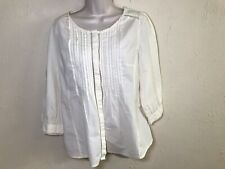 Meadow Rue Anthropologie Ivory Cotton Peasant Blouse Sz 10 Button Front