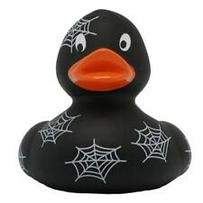 Black rubber duck with spider web